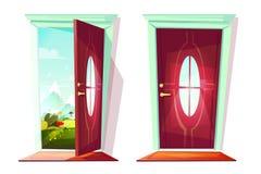 Porta da ilustração do vetor da entrada da casa ilustração royalty free