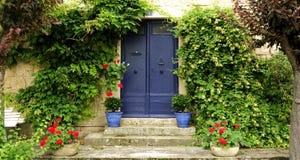 Porta da rua com potenciômetros e plantas Fotos de Stock