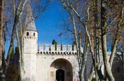A porta da saudação, palácio da entrada principal de Topkapi, Istambul, foto de stock