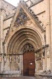 Porta das virgens da catedral de Santa Maria em Morella, imagens de stock royalty free