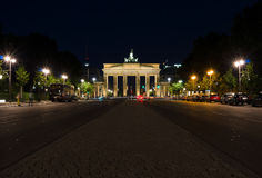 Porta de Brandebourg na noite Fotografia de Stock Royalty Free