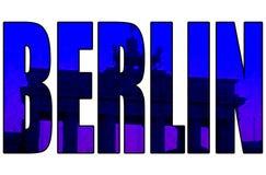 Porta de Brandemburgo do texto do azul de Berlim 3d do vintage do Grunge Imagem de Stock Royalty Free