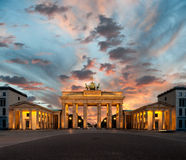 Porta de Brandemburgo no por do sol Foto de Stock Royalty Free
