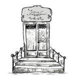 Porta de entrada, desenho da loja-janela ilustração royalty free