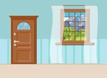 Porta de entrada fechado de madeira com janela e a janela de madeira ilustração do vetor
