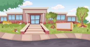 Porta de entrada de um prédio da escola dos desenhos animados ilustração royalty free