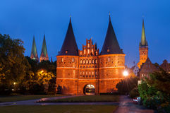 Porta de Holsten, Lubeque, Alemanha Foto de Stock Royalty Free