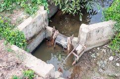Porta de inundação velha foto de stock royalty free
