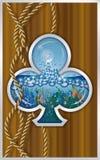 Porta de la nave de la tarjeta del póker de los clubs Fotos de archivo