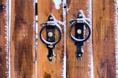 Porta de madeira amarela Imagem de Stock Royalty Free