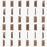 Porta de madeira com as barras de vidro da inserção e de ferro 3d Imagens de Stock Royalty Free