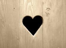 Porta de madeira com coração Imagem de Stock Royalty Free
