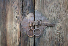 Porta de madeira com fechamento Imagens de Stock