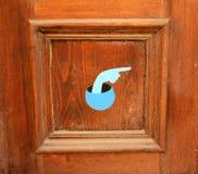 Porta de madeira com mão pintada Imagem de Stock Royalty Free