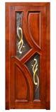 Porta de madeira com vitral no fundo branco Imagens de Stock
