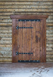 Porta de madeira da casa de campo tradicional do feixe ilustração stock
