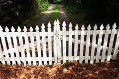 Porta de madeira da cerca de piquete fotografia de stock royalty free