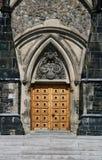 Porta de madeira do bloco do leste imagem de stock