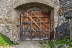 Porta de madeira do castelo Fotografia de Stock