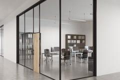 Porta de madeira do escritório de vidro, entrada, fim acima ilustração stock