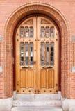 Porta de madeira e de vidro fotografia de stock royalty free