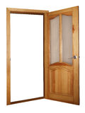 Porta de madeira e de vidro isolada no branco Imagem de Stock