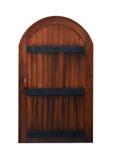 Porta de madeira medieval arqueada isolada no branco Fotografia de Stock
