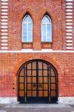 Porta de madeira no ` da casa do pão do ` na museu-propriedade de Tsaritsyno, Moscou imagem de stock royalty free