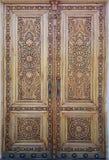 Porta de madeira oriental com ornamento Ornamento islâmico foto de stock royalty free