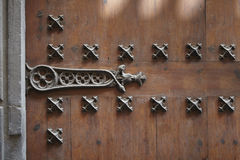 Porta de madeira velha com dobradiças do metal Fotos de Stock