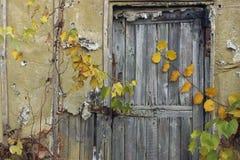 Porta de madeira velha na parede de tijolo Porta de madeira velha foto de stock royalty free