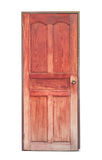 Porta de madeira vermelha velha isolada no fundo branco Imagens de Stock