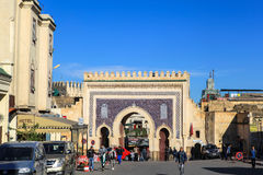 Porta de Medina do fez em Marrocos fotografia de stock royalty free