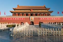 Porta de Tienanmen (a porta da paz celestial) na manhã. Pequim Fotos de Stock Royalty Free