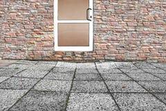 Porta de vidro branca no espaço da rua 3D Imagens de Stock