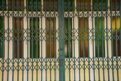 Porta de vidro da fantasia com a porta verde do ferro Imagem de Stock Royalty Free