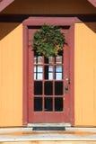 Porta de vidro de madeira Imagens de Stock Royalty Free