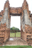 Porta de Wat Maha That, Ayutthaya, Tailândia Fotografia de Stock Royalty Free