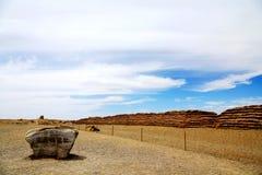 Porta de Yumem e o Grande Muralha em Han Dynasty foto de stock