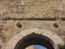 Porta dei Due Leoni gate in Cagliari. Porta dei Due Leoni (meaning Two Lions Gate) in Castello quarter in Cagliari, Italy Royalty Free Stock Image