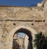 Porta dei Due Leoni gate in Cagliari. Porta dei Due Leoni (meaning Two Lions Gate) in Castello quarter in Cagliari, Italy Stock Photos