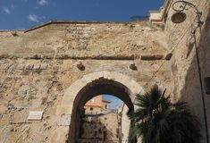 Porta dei Due Leoni gate in Cagliari. Porta dei Due Leoni (meaning Two Lions Gate) in Castello quarter in Cagliari, Italy Royalty Free Stock Images