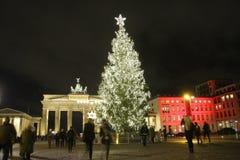 Porta di Brandeburgo dell'albero di Natale Immagine Stock