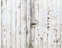 Porta di granaio d'annata con esfoliare la vernice brillante bianca Immagine Stock