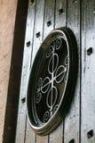 Porta di legno con la finestra Fotografie Stock Libere da Diritti