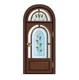 Porta di legno con vetro macchiato Immagine Stock Libera da Diritti