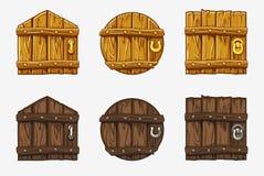 Porta di legno del fumetto, beni di vettore per il gioco di Ui illustrazione vettoriale
