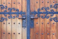 Porta di legno della chiesa Fotografia Stock