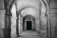 Porta di legno e arché di pietra Immagini Stock Libere da Diritti