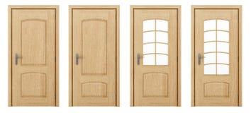 Porta di legno isolata su bianco Fotografie Stock